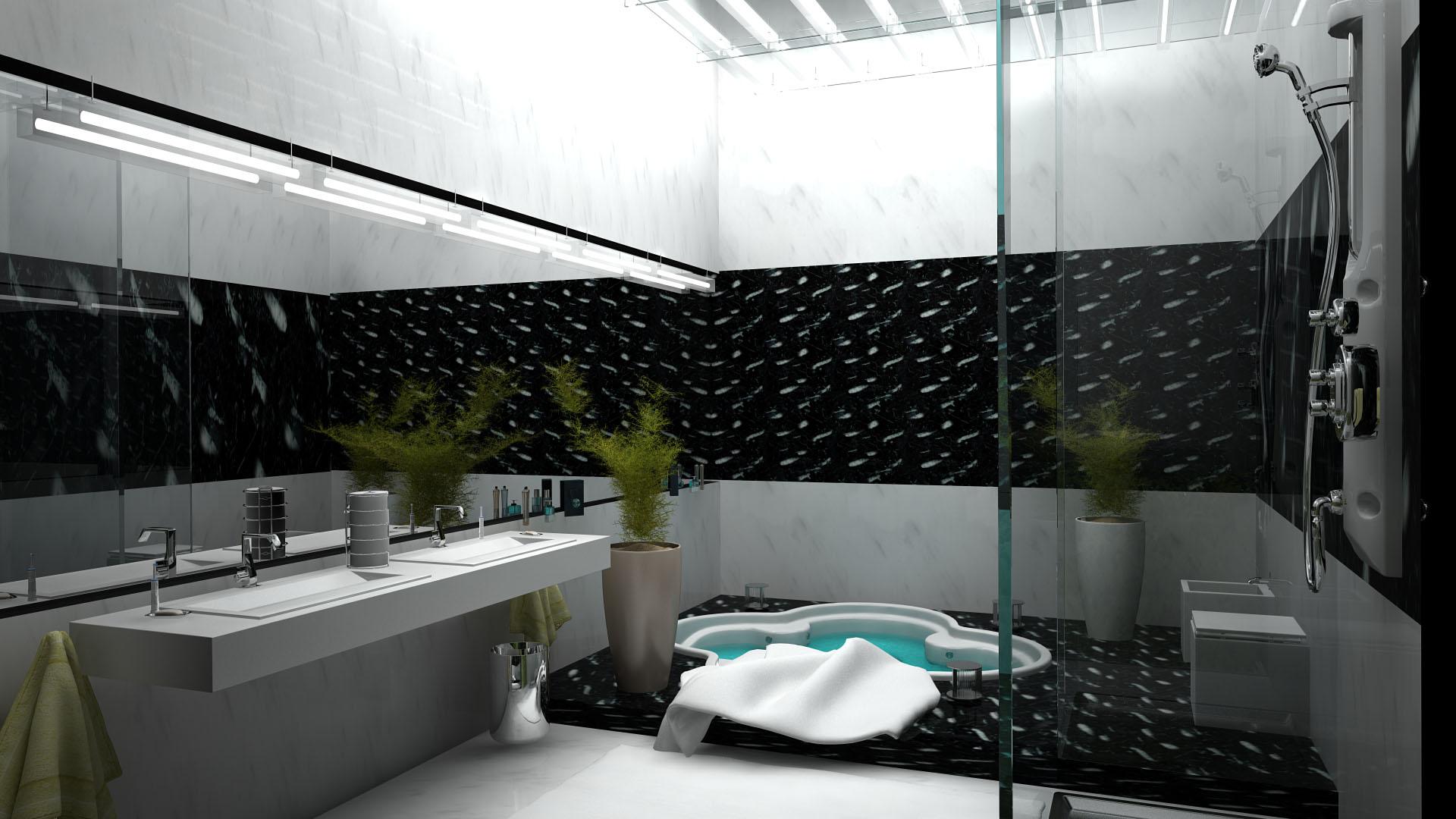 Красивый дизайн в ванной комнате.